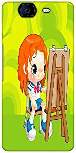 Snoogg Painting Schoolgirl 2675 Designer Protective Back Case Cover For Micromax Canvas Knight A350