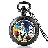 Retro Soviet Union Space Agency Quartz Pocket Watch Vintage Men Women Bronze CCCP Pendant Necklace Gifts