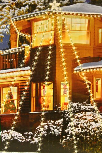 HDIUK 200 LED House Star with 5 strings Clear bulbs (Warm White) Christmas lights set indoor outdoor