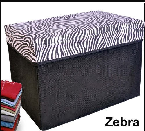 Collapsible Storage Ottoman, Rectangle Shape (Zebra Pattern)