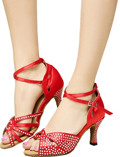 Фото Abby Q-6191 Womens Latin Tango Ballroom Cha-cha Kitten Heel Satin Dance-shoes