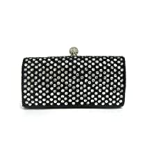 Gorgeous Beaded and Sequined Evening Wedding Prom Cocktail Party Clutch Handbag (Black)