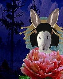 Flower Poppy Geisha BUNNY Lady altered rabbit portrait anthro art print