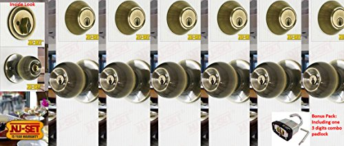 6 Sets of NuSet Keyed Alike Dana Door Knob and Single Cylinder Deadbolt, Antique Brass (Door Lock Sets Keyed Alike compare prices)