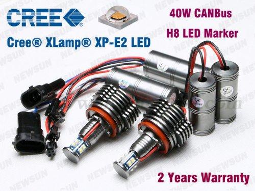 Newsun High Quality 2*40W 80W Cree Led Angel Eyes For Bmw E92 H8 E60 E71 E82 E87 E89 E90 E92 E93 Headlight Led Marker