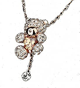 Italina Rigant Women's Rose Gold Plated Peach Citrine Heart And Rhinestone Teddy Bear Necklace