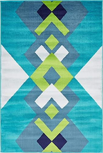 Modern Abstract Geometric 4 feet by 6 feet (4' x 6') Metro Turquoise Contemporary Area Rug