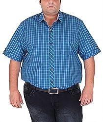 Xmex Men's Cotton Shirt (KR-HSECOR.BLUE, Blue, XX-Large)