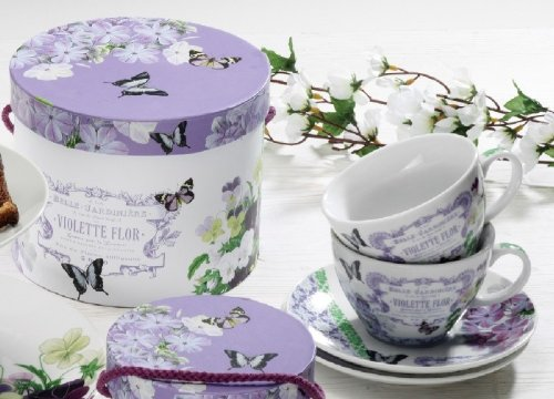 Paperproducts Design Gift Box Cups And Saucers, 11-Ounce, Vintage Violets, Set Of 2