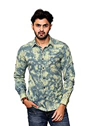 Rafters yellow and indigo blue check, full sleeves men's slim fit casual shirt
