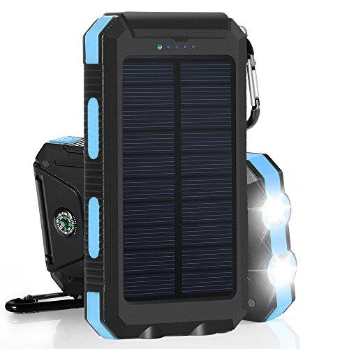 GRDE 10000mAh 大容量ソーラーチャージャー モバイルバッテリー 2USBポート 羅針盤が付き 防水設計 二つの充電方法 旅行、キャンプの良品 iPhone / iPad / iPod / Xperia / Galaxy / Nexus等対応 (ブルー&ブラック)