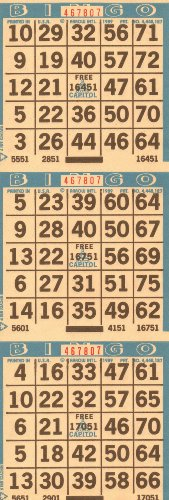 3 on Bingo Paper Cards 3 Cards Per Sheet 3 Sheets to a Booklet 50 Booklets to a Pack Totaling 450 Cards