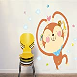 Oren Empower Cute Cartoon Monkey PVC Vinyl Large Wall Decals