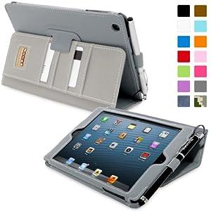 Snugg™ iPad Mini & iPad Mini 2 Case - Executive Smart Cover With Card Slots & Lifetime Guarantee (Grey Leather) for Apple iPad Mini & iPad Mini 2