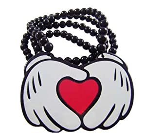 Good Quality Hip-hop Heart Pendants Wood Rosary Acrylic Bead Necklaces 36