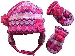 N\'Ice Caps Girls Fair Isle Print Micro Fleece Hat And Mitten Set (3-6 months, fuchsia/pink/purple/turq/white - Infant)
