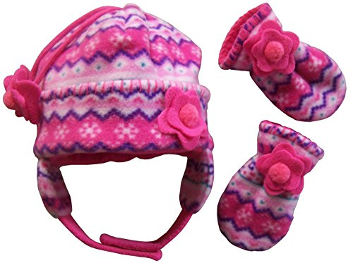 N'Ice Caps Girls Fair Isle Print Micro Fleece Hat And Mitten Set (6-18 months, fuchsia/pink/purple/turq/white - Infant)