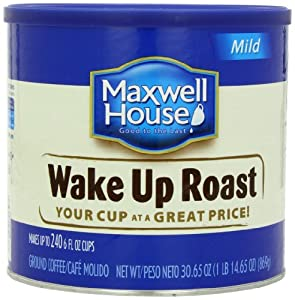 Maxwell House Ground Coffee Canister, Wake Up Roast, 30.65 Ounce