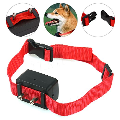 No Barking Dog Shock Bark Collar-Adjustable For Pet Training - Control Your Dog Bark - Made For Big & Small Dogs-Electric Vibration Shock-High Quality Red Nylon Electric Anti Bark