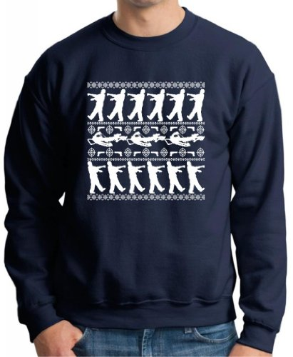 Zombie Ugly Christmas Sweater Premium Crewneck Sweatshirt Large Navy