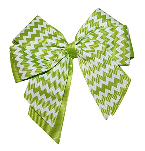 Webb Direct 2U Girls Lg Chevron Grosgrain Hair Bow W/Tails Alligator Green 8036 front-683381