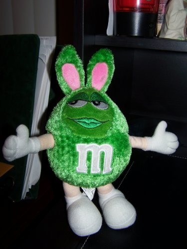Green M&M Easter Plush 11""