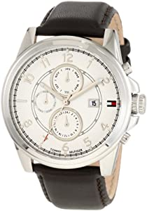 Tommy Hilfiger  Men's 1710294 Stainless Steel and Leather Strap White Dial Watch