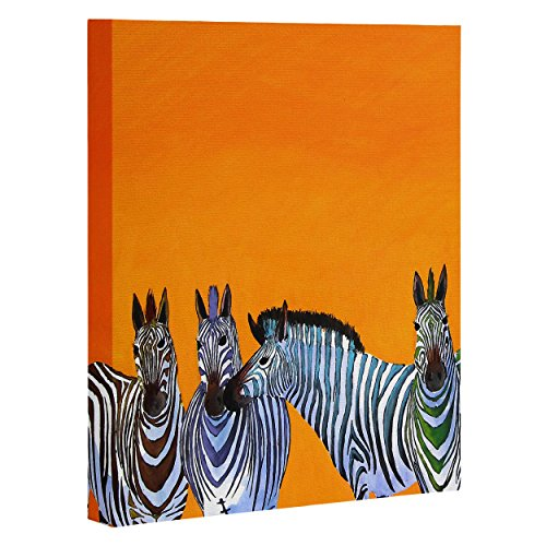 "DENY Designs Clara Nilles Candy Stripe Zebras Art Canvas, 16"" x 20"""