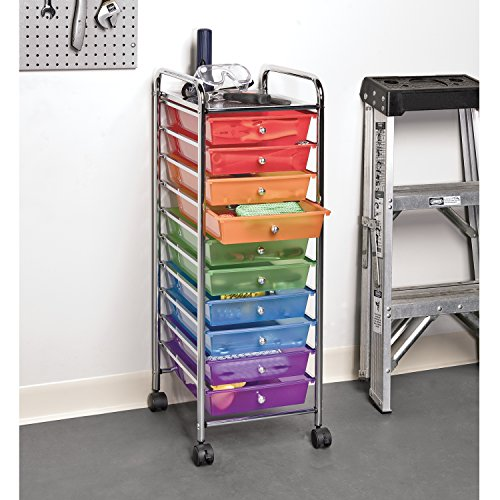 Seville classics 10 drawer organizer cart multi color new for Rolling craft cart with drawers