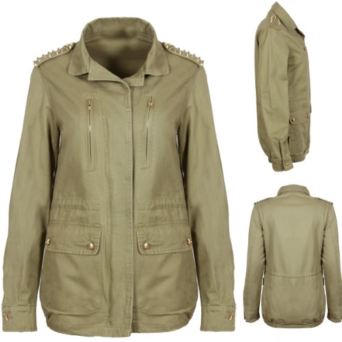 V7 New Womens Light Green Khaki Gold Skull Buttons Stud Studded Shoulders Military Jacket Coat Ladies Fashion Size 8