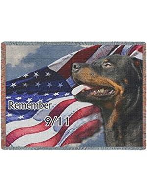 Rottweiler Dog 9/11 Woven Throw Blanket 50 x 60