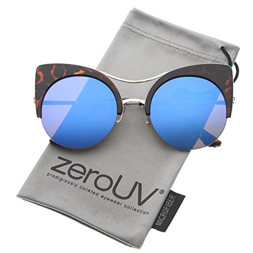zeroUV - Womens Oversized Half Frame Semi-Rimless Flat Lens Round Cat Eye Sunglasses 60mm