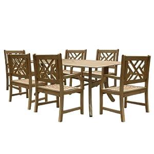 Vifah V1300SET3 Renaissance Rectangular Table and Armchair Outdoor Hand-Scraped Hardwood Dining Set