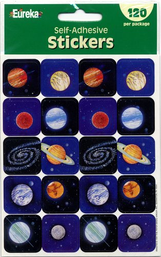 Eureka Planets Stickers, 120-Piece