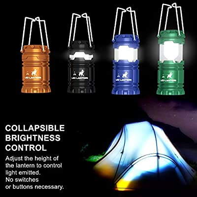 [4 Pack] LED Camping Lantern Flashlights - Hurricane Emergency Tent Light - Backpacking, Hiking, Fishing, & Outdoor Lighting Bug Out Bag Camping Equipment | Portable, Compact, & Water Resistant Gift