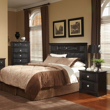 Standard Furniture Portia 3 Piece Headboard Bedroom Set in Faux Alligator & Black
