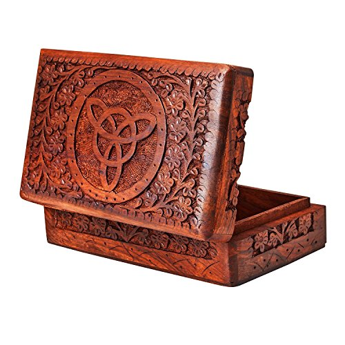Handmade Decorative Wooden Jewelry Box Jewelry Organizer Keepsake Box Treasure Chest Trinket Holder Watch Box Storage Box 8 x 5 Inches Birthday Housewarming Gift Ideas For Men & Women