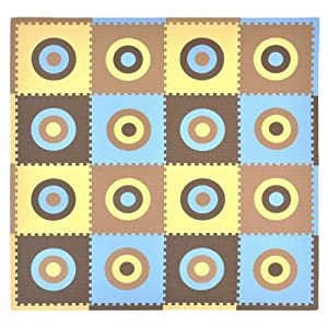 Tadpoles 16 Piece Squared Playmat Set, Blue/Brown