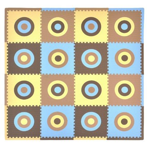 Tadpoles 16 Piece Squared Playmat Set, Blue/Brown
