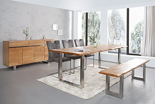 massiver baumstamm tisch genesis 180 cm eiche massivholz baumkante esstisch mit kufengestell aus. Black Bedroom Furniture Sets. Home Design Ideas