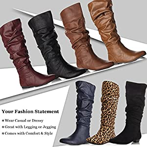 ROF Women's Basic Slouchy Knee High Flat Boot CAMEL SUEDE (9)