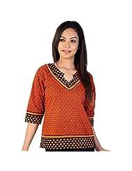 Jaipur RagaDesigner Hand Block Ethnic Red-Black Cotton Top Red-Black Kurti