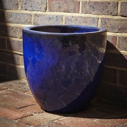 21cm-glazed-egg-pot-blue-garden-planter-round-plant-container-flower-bowl