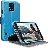 Terrapin Leder Tasche Case Hülle im Bookstyle mit Standfunktion Kartenfächer für Samsung Galaxy S5 (Blau)