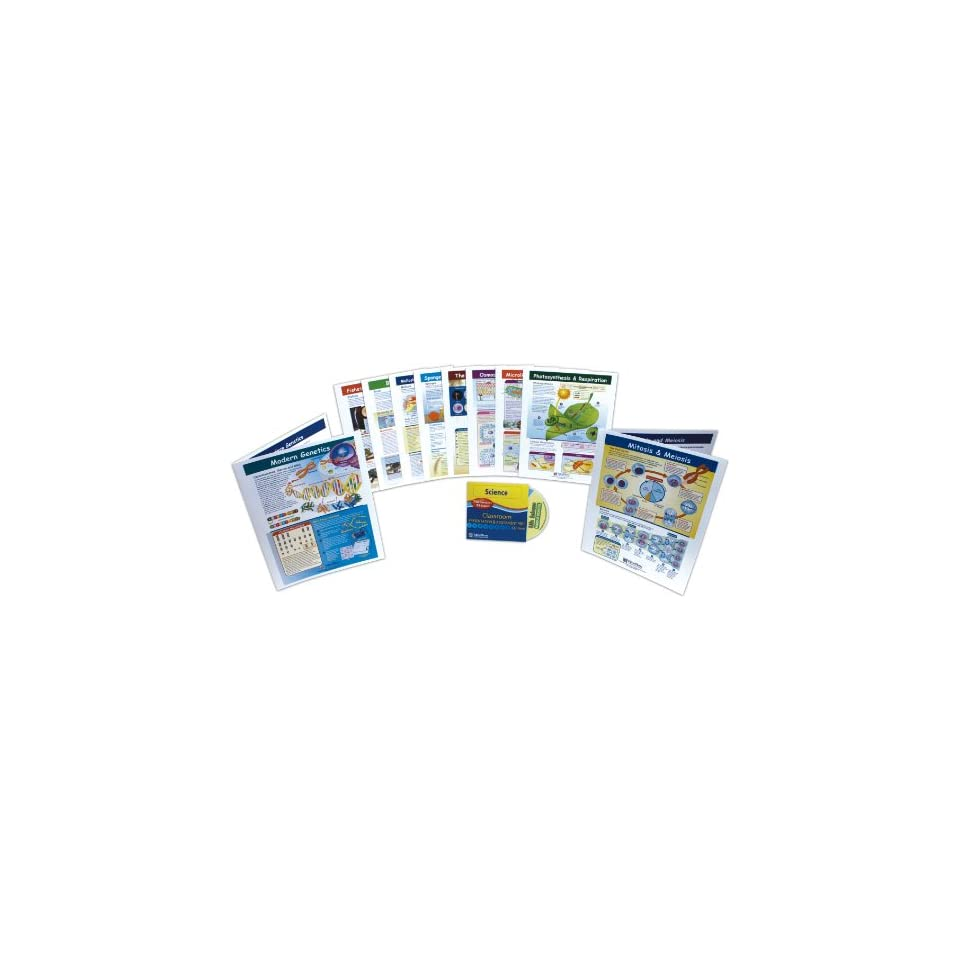 NewPath Learning 10 Piece Mastering Middle School Life Science Visual Learning Guides Set, Grade 5 9