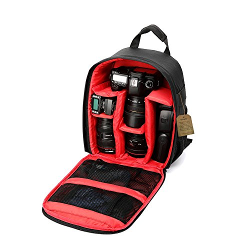 Camera-Backpack-DSLR-SLR-Camera-Bag-Video-Padded-Backpack-Waterproof-for-Canon-Nikon-Sony-Olympus-Samsung-Panasonic-Pentax-Cameras-Red-133-X-98-X-51