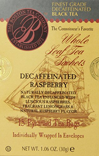 Boston Tea Finest Grade Loose Naturally Decaffeinated Raspberry Black Tea Pyramid, 15-Count (Pack Of 3)