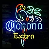 HOZER Professional 17*14 CORONA EXTRA PARROT Design Decorate Neon Light Sign Store Display Beer Bar Sign Real Neon Signboard for Restaurant Convenience Store Bar Billiards Shops