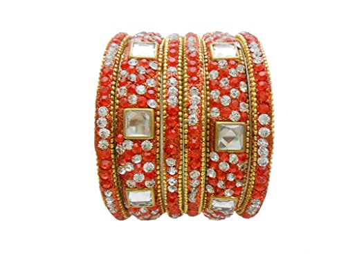 Orange Gold Plated Designer Bangles Set By My Design(size-2.6)