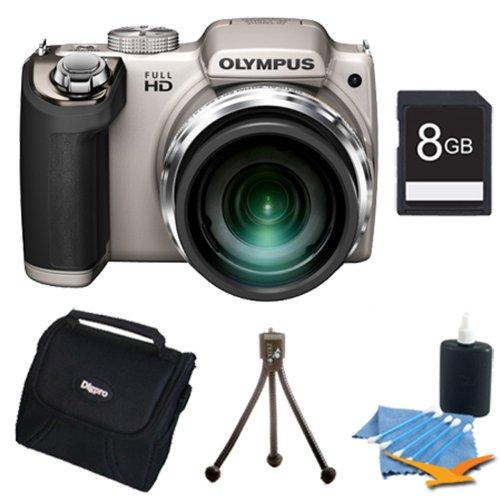Olympus SP-720UZ 14MP 26x Opt Zoom 3-Inch LCD Digital Camera Silver Plus 8 GB Memory Kit